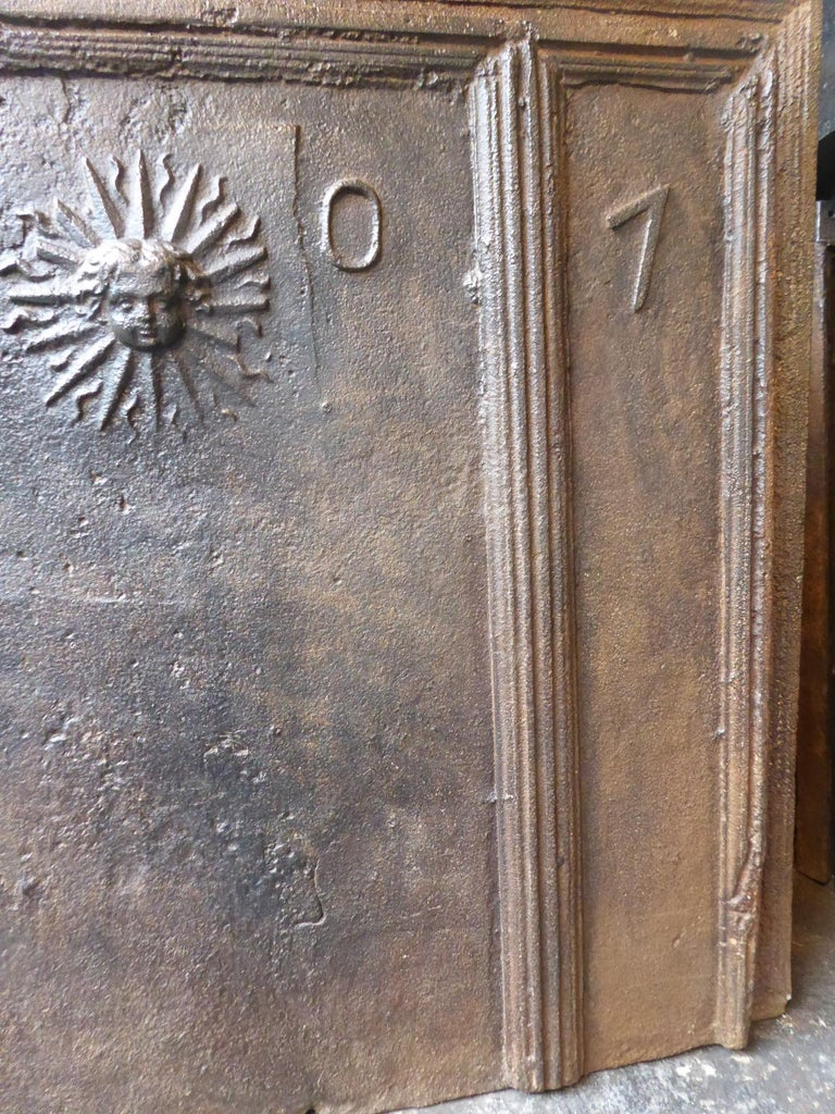 18th Century French Louis XIV 'The Sun' Fireback For Sale 4