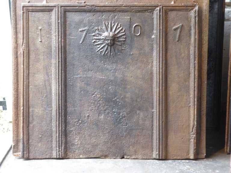 Cast 18th Century French Louis XIV 'The Sun' Fireback For Sale