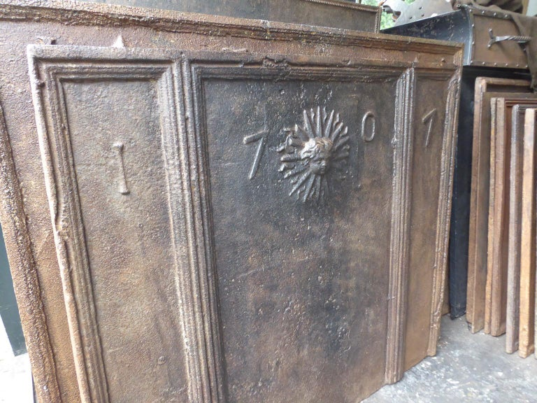 Iron 18th Century French Louis XIV 'The Sun' Fireback For Sale