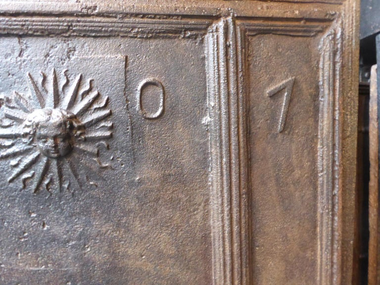 18th Century French Louis XIV 'The Sun' Fireback For Sale 3