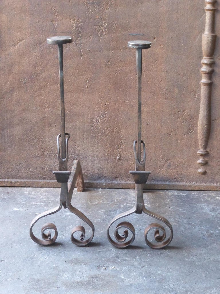 Forged 18th Century French Louis XV Andirons or Firedogs For Sale