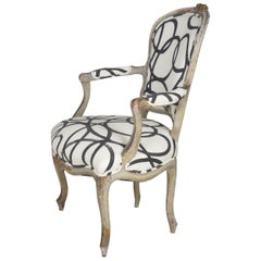 18th Century French Louis XV Antique Gray Painted Fauteuil Armchair