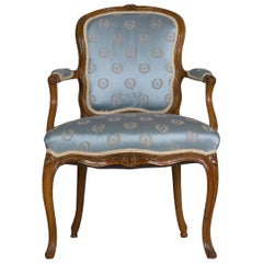 18th Century French Louis XV Carved Beechwood Antique Armchair
