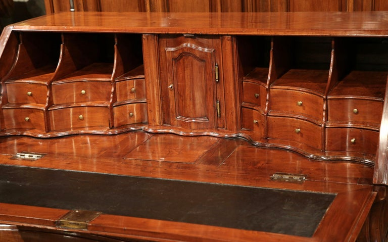 Leather 18th Century French Louis XV Carved Bombe Cherry Desk Secretary from Bordeaux For Sale