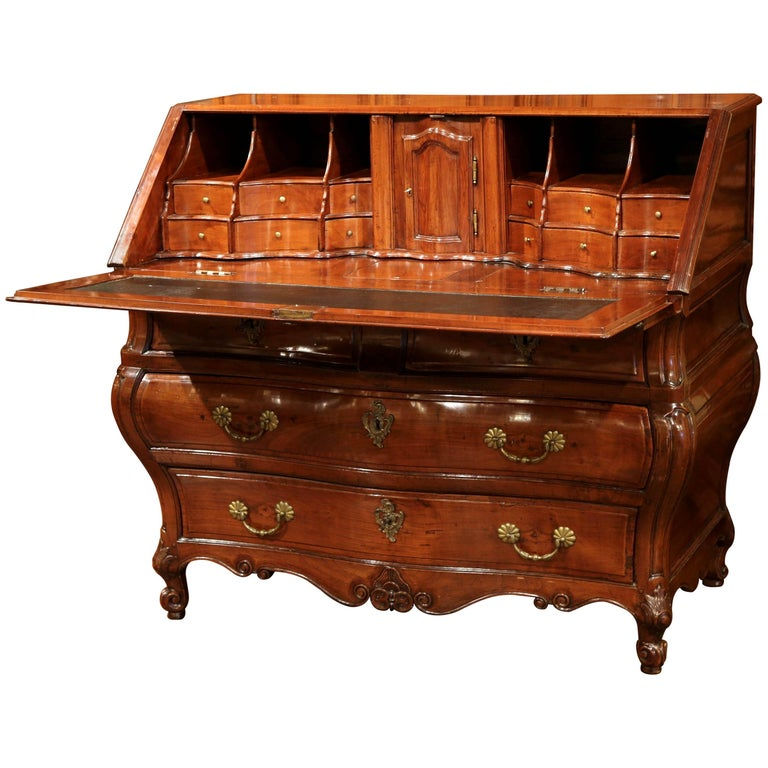 18th Century French Louis XV Carved Bombe Cherry Desk Secretary from Bordeaux For Sale