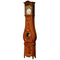 18th Century French Louis XV Carved Burl Walnut and Marquetry Tall Case Clock