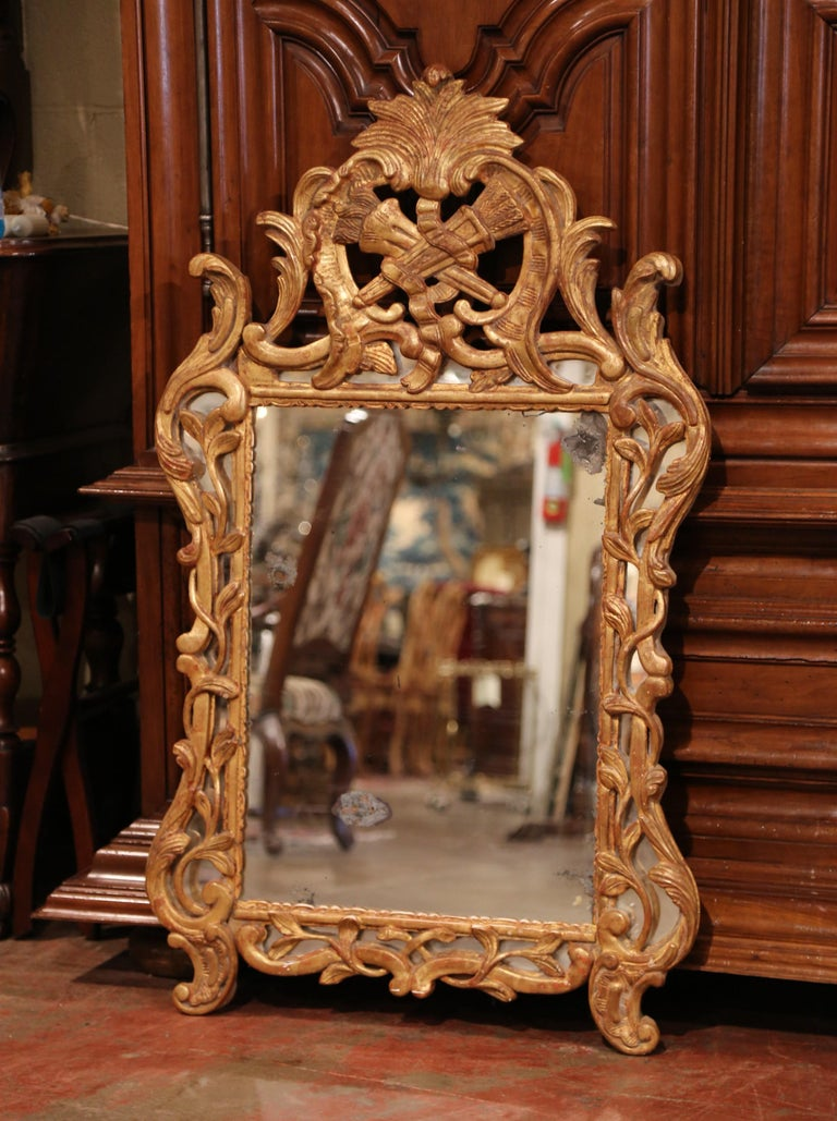 Hand-Carved 18th Century French Louis XV Carved Giltwood Mirror from Provence