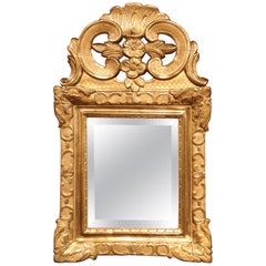 18th Century French Louis XV Carved Giltwood Wall Mirror from Provence