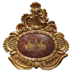 18th Century French Louis XV Carved Giltwood and Painted Wall Crest Plaque