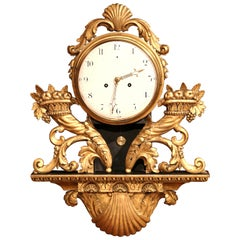 18th Century French Louis XV Carved Giltwood Wall Clock