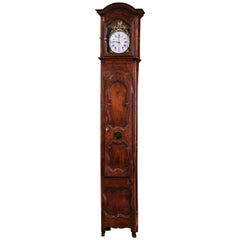 18th Century French Louis XV Carved Walnut and Burl Tall Case Clock with Rooster