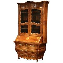18th Century French Louis XV Carved Walnut Bombe Secretary Bookcase
