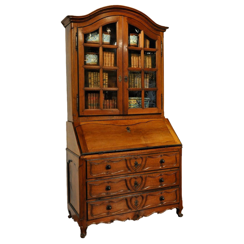 18th Century French Louis XV Carved Walnut Secretary Desk Display Bookcase
