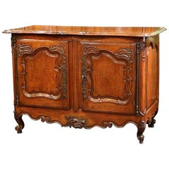 18th Century French Louis XV Carved Walnut Two-Door Buffet from Lyon
