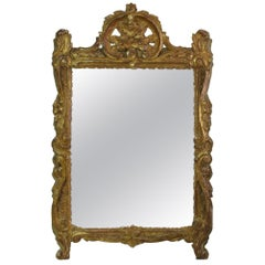 18th Century French Louis XV Giltwood Mirror