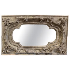 18th Century French Louis XV Hand Carved Painted Oak Wall Mirror