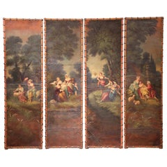 18th Century, French Louis XV Hand Painted Four-Panel Leather Wall Screen