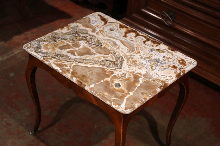 Hand-Carved 18th Century French Louis XV Mahogany Occasional Table with Marble Top For Sale