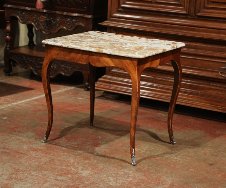 18th Century French Louis XV Mahogany Occasional Table with Marble Top For Sale 1