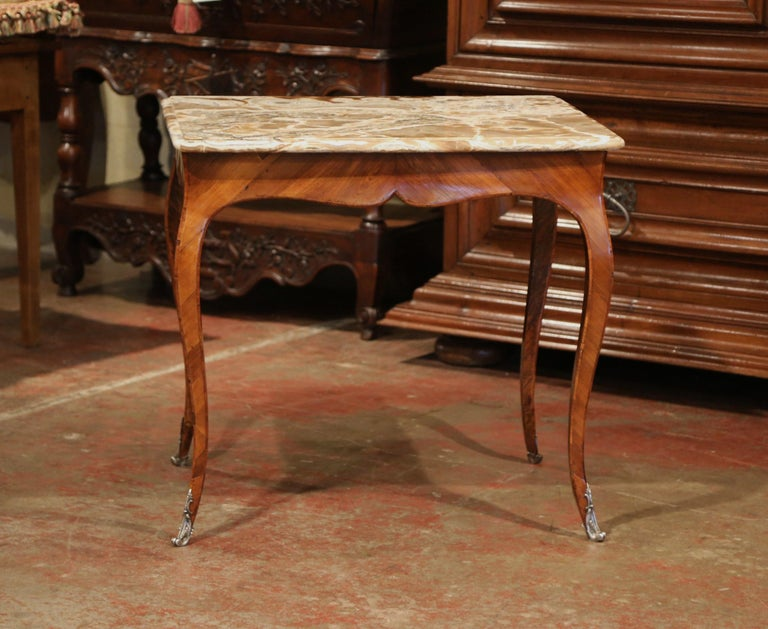 18th Century French Louis XV Mahogany Occasional Table with Marble Top For Sale 3