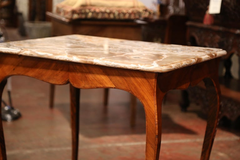 18th Century French Louis XV Mahogany Occasional Table with Marble Top For Sale 4