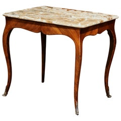 18th Century French Louis XV Mahogany Occasional Table with Marble Top