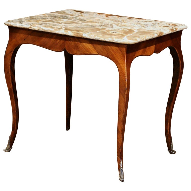 18th Century French Louis XV Mahogany Occasional Table with Marble Top For Sale