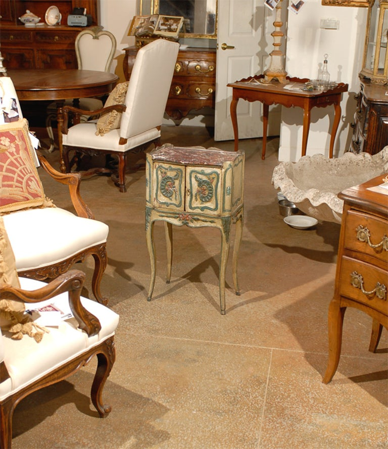 18th century French Louis XV painted chevet with two doors and faux marble top. Provence, One of a kind.