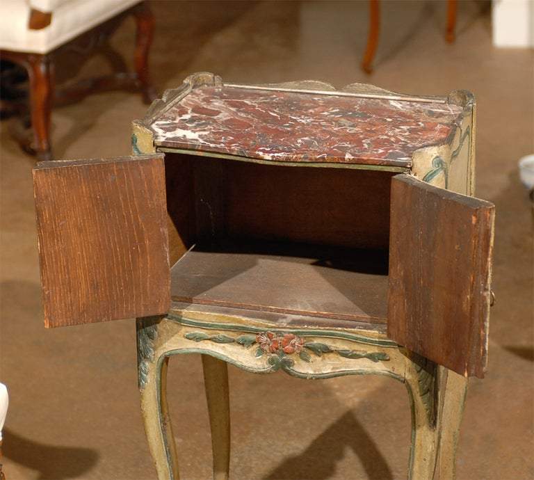 Marble 18th Century French Louis XV Painted Chevet For Sale