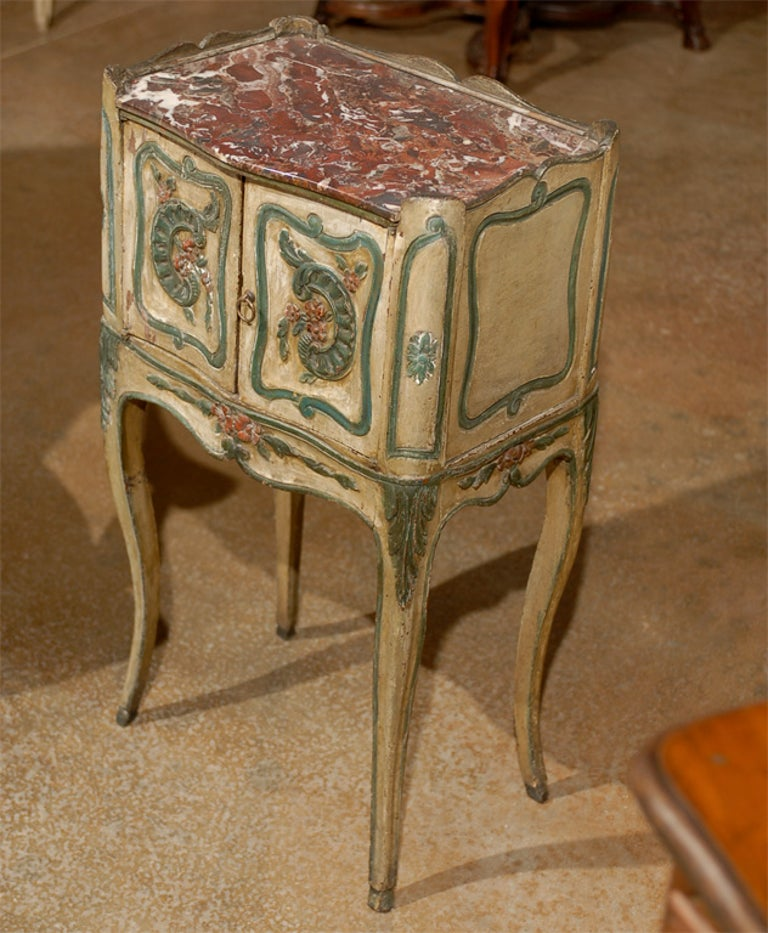 18th Century French Louis XV Painted Chevet For Sale 1