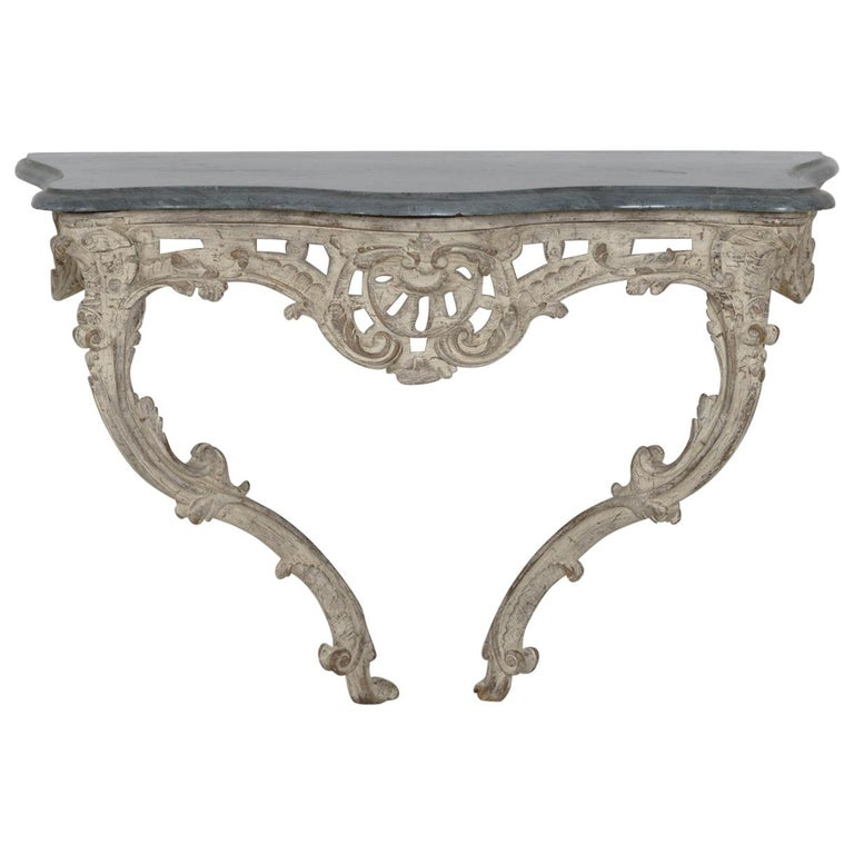 18th Century French Louis XV Period Console Table with Blue Turquin Marble Top 1