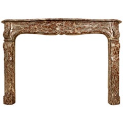 18th century French Louis XV Period 'Rouge Royal' marble mantel