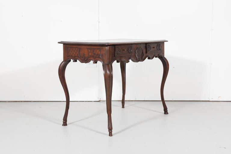 Walnut 18th Century French Louis XV Period Side Table or Ladies Desk For Sale