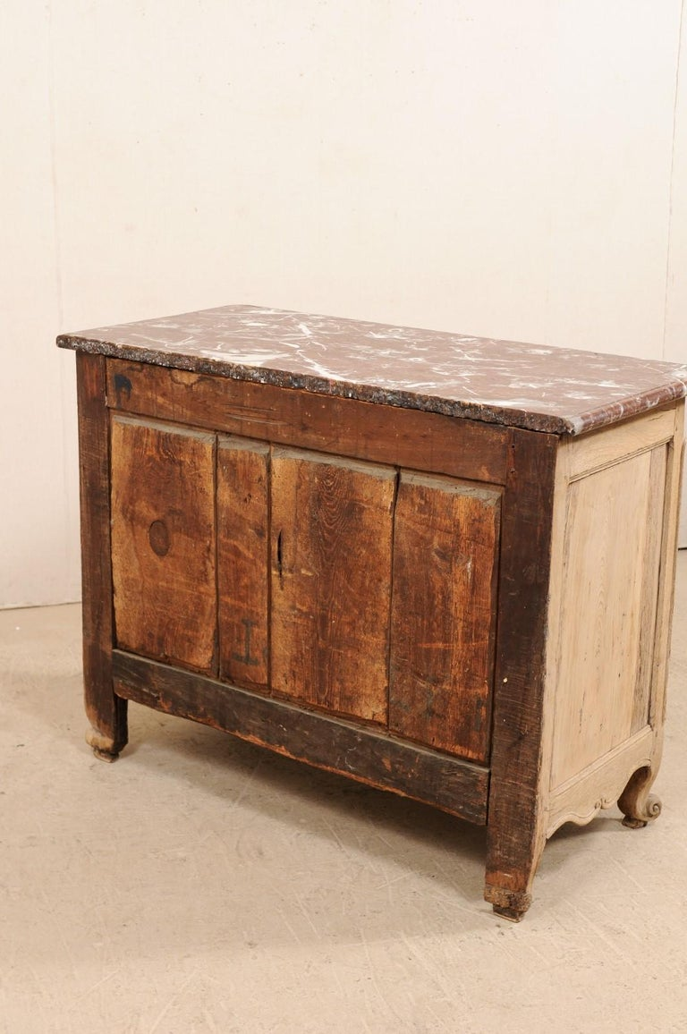 An 18th Century French Louis XV Provincial Four-Drawer Marble Top Wood Chest For Sale 6