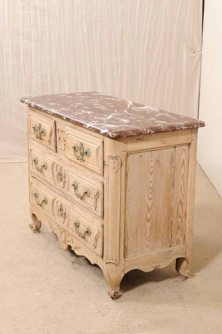 An 18th Century French Louis XV Provincial Four-Drawer Marble Top Wood Chest For Sale 1