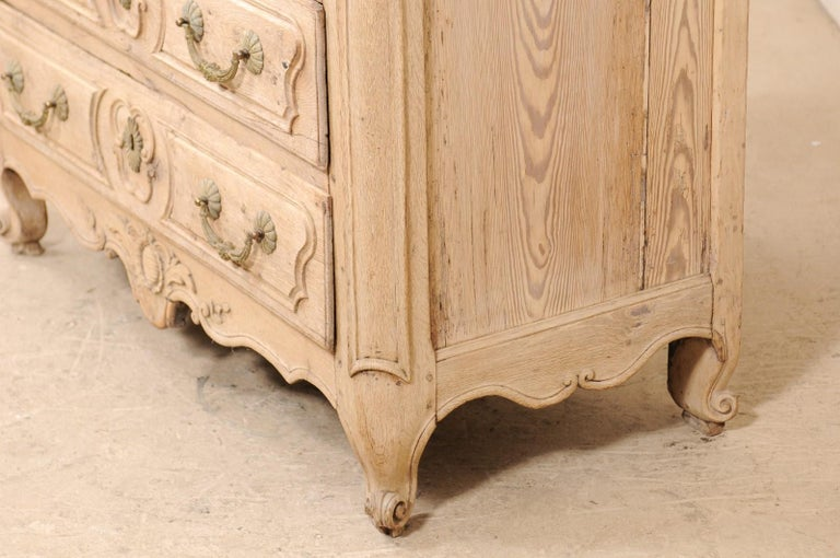 An 18th Century French Louis XV Provincial Four-Drawer Marble Top Wood Chest For Sale 2