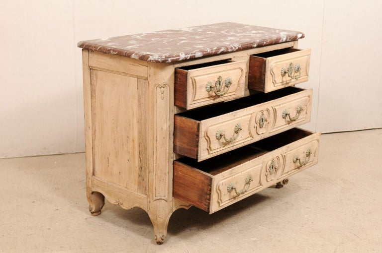 An 18th Century French Louis XV Provincial Four-Drawer Marble Top Wood Chest For Sale 3