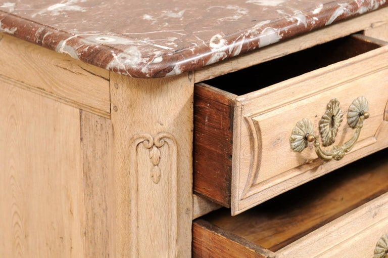 An 18th Century French Louis XV Provincial Four-Drawer Marble Top Wood Chest For Sale 4