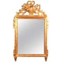 18th Century French Louis XV Provincial Giltwood Mirror with Hand Carved Frame
