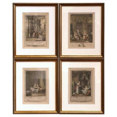 18th Century French Louis XV Romantic Colored Prints in Gilt Frames-Set of Four