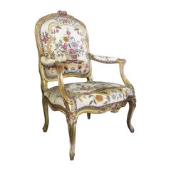 18th Century French Louis XV Style Giltwood Needlepoint Fauteuil Armchair