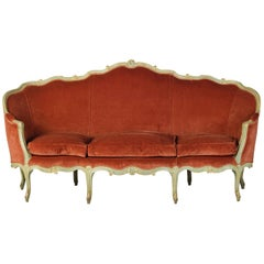 18th Century, French Louis XV Three-Seat Velvet Lacquered Wood Corbeille Sofa