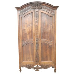 18th Century French Louis XV Walnut Carved Wardrobe or Armoire