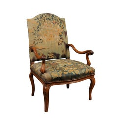 18th Century French Louis XV Walnut Fauteuil with Tapestry Upholstery