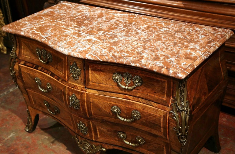 Hand-Carved 18th Century French Louis XV Walnut Inlay Bombe Chest of Drawers with Marble Top For Sale