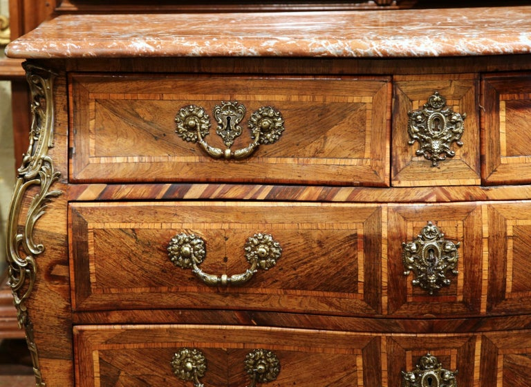 18th Century French Louis XV Walnut Inlay Bombe Chest of Drawers with Marble Top For Sale 1