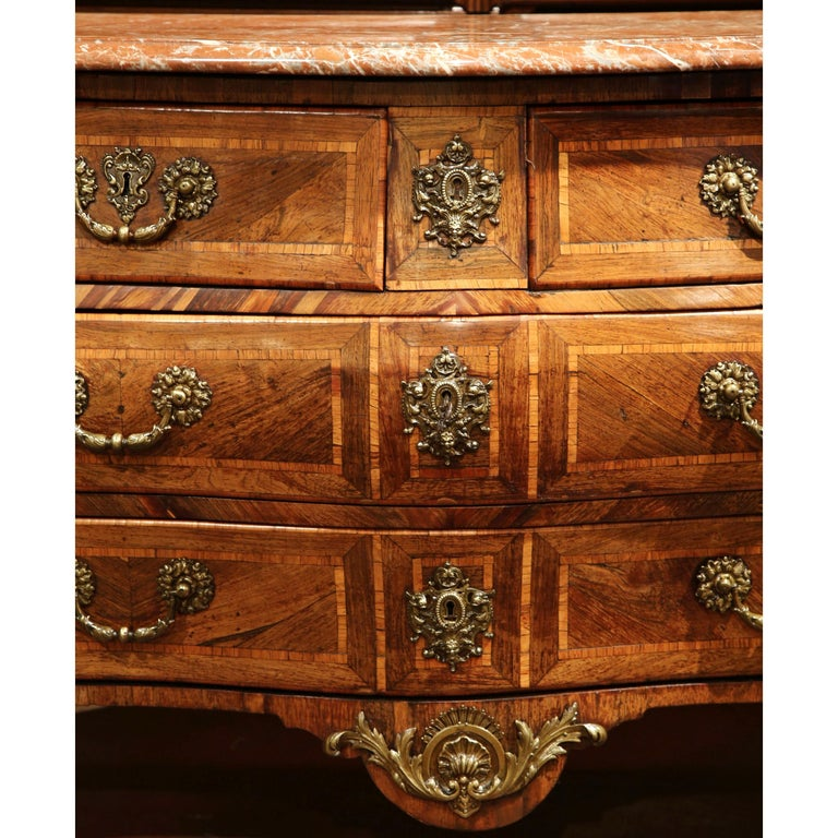 18th Century French Louis XV Walnut Inlay Bombe Chest of Drawers with Marble Top For Sale 2
