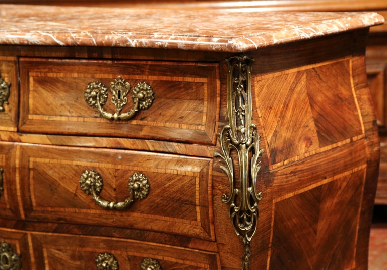 18th Century French Louis XV Walnut Inlay Bombe Chest of Drawers with Marble Top For Sale 3