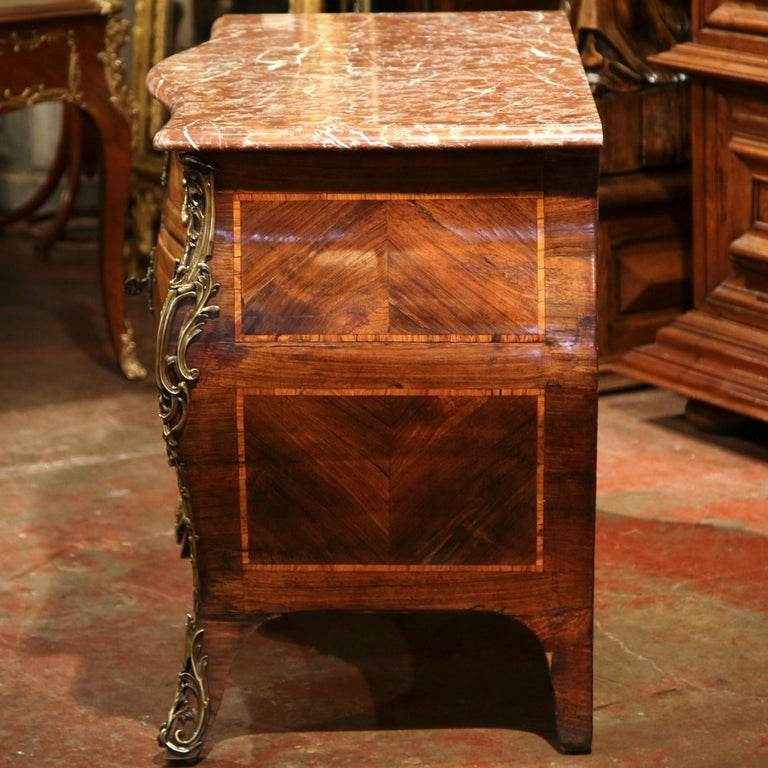 18th Century French Louis XV Walnut Inlay Bombe Chest of Drawers with Marble Top For Sale 4