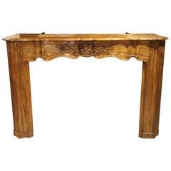 18th Century French Louis XV Walnut Wood Mantel